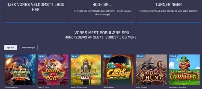 Onlinespil hos Maria Casino